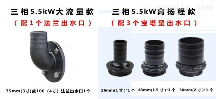 5.5kW双刀切割泵配带法兰盘的75mm(3寸)口径出水接口一个