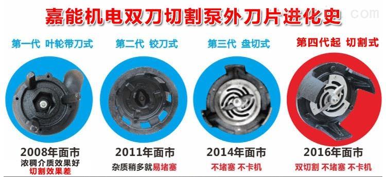 我厂的排污泵经历了代叶轮带刀式、第二代铰刀式、第三代盘切式和现在的第四代双刀切割式的发展过程
