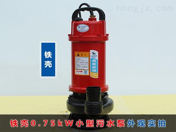 WQD8-12-0.75铁壳小型污水泵(750W普通家用污水泵)外观实拍